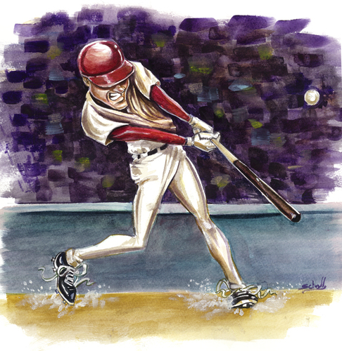 Cartoon: clean-up (medium) by michaelscholl tagged batter,swing,baseball,hitter,hit,team,sports