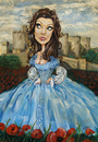 Cartoon: Blue Sunday (small) by michaelscholl tagged woman cartoon portrait dress castle poppies sexy