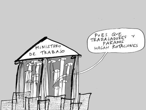 Cartoon: Para acabar con el paro (medium) by elrubio tagged empleo,ministerio,paro