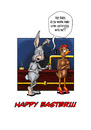 Cartoon: Happy Easter 2010 (small) by Toeby tagged easter bunny rabbit chicken eastereggs bar toeby mark töbermann