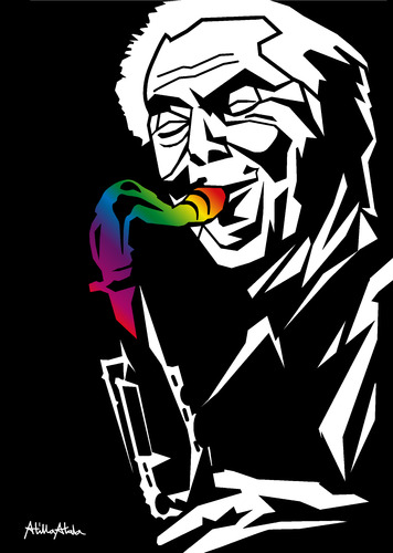 Cartoon: Jan Garbarek (medium) by Atilla Atala tagged jazz,norway,saxophone