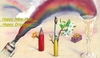 Cartoon: Happy New Year (small) by Atilla Atala tagged happy new year drawing pen brush champagne rainbow