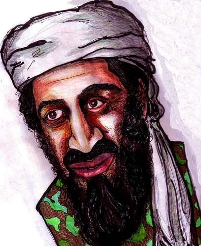 Cartoon: Osama Bin Laden (medium) by artistocrat tagged politics,terrorist,911,bin,laden,saudi