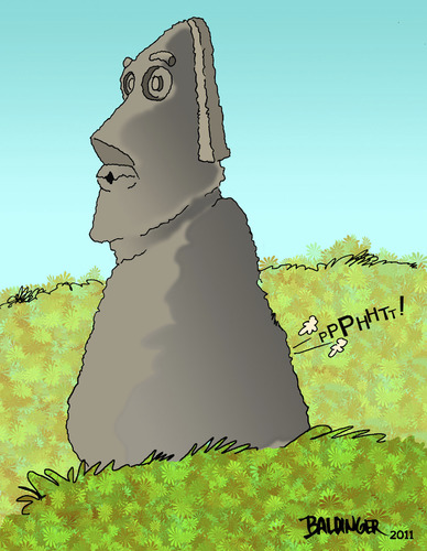 Cartoon: Easter Island Gas (medium) by dbaldinger tagged monuments,idols,sculpture,ancient,mysterious,easter,island,head