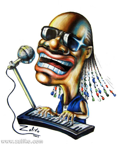 Cartoon: Stevie Wonder (medium) by zaliko tagged stevie,wonder,caricature