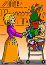 Cartoon: 7-77_2 (small) by MERT_GURKAN tagged woman,shopping,baby,caricature