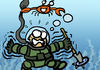 Cartoon: DIVER (small) by MERT_GURKAN tagged animals,crab,diver,caricature