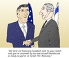 Cartoon: Bibi Mitt caricature (small) by BinaryOptions tagged binary,option,trader,options,trading,optionsclick,mitt,romney,benjamin,binyamin,bibi,netanyahu,caricature,cartoon,comic,handshake,parody,politicians,diplomacy,allies,financial,investor,news,usd,nis