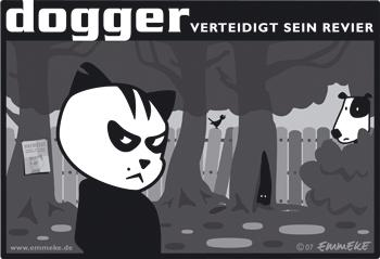 Cartoon: dogger (medium) by EMMEKE tagged animals,dogger,character,comic,tiere,cat,dog,patch,brave,scary,katze,hund,revier,boese,wald,forest,streetcat,straßenkatze,design,vector,outline,bw,angsthase