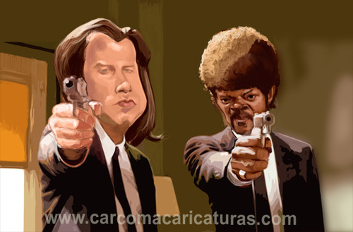 Cartoon: Pulp Fiction (medium) by carcoma tagged caricature,humor,caricatura,cine,pelicula,film,travolta,jackson,tarantino