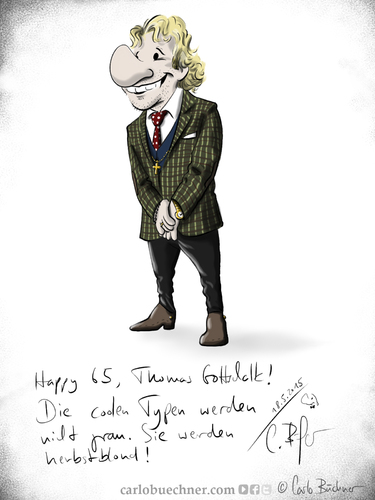 Cartoon: Happy 65 Thomas Gottschalk (medium) by Carlo Büchner tagged thomas,gottschalk,2015,65,geburtstag,happy,birthday,zdf,moderator,rtl,entertainment,otto,waalkes,günther,jauch,party,feier,jubiläum,herbstblond,carlo,büchner,arts,ray,cartoon,humor,ehre,satire,glückwunsch