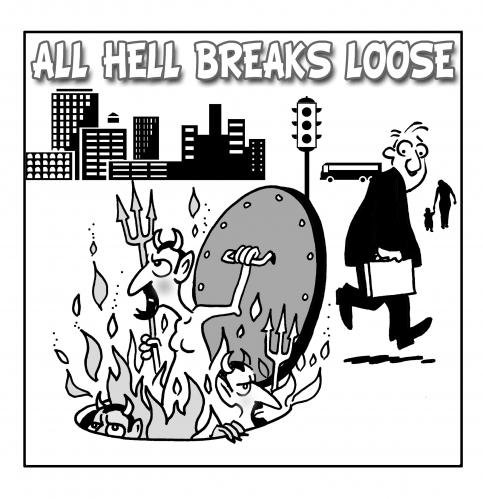 Cartoon: All Hellnone (medium) by toons tagged breakout,devil,god,sewer,hell,heaven