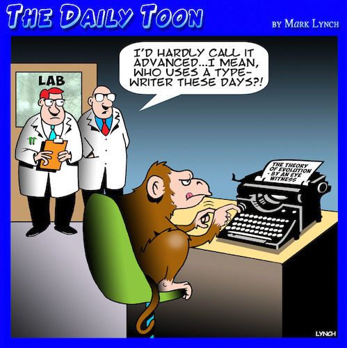 Cartoon: Animal research (medium) by toons tagged monkeys,typewriters,animal,experiments,typing,antiques,apes,evolution,monkeys,typewriters,animal,experiments,typing,antiques,apes,evolution