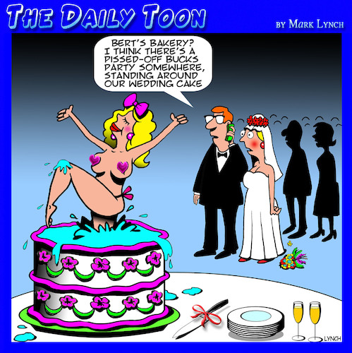 Cartoon: Bucks Party cartoon (medium) by toons tagged wedding,cake,stripper,pole,dancer,bucks,party,burlesque,wedding,cake,stripper,pole,dancer,bucks,party,burlesque