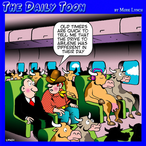 Cartoon: Cattle drive (medium) by toons tagged cattle,drive,airplane,travel,cows,steers,animals,rustlers,cattle,drive,airplane,travel,cows,steers,animals,rustlers