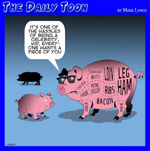 Cartoon: Celebrity (medium) by toons tagged pigs,butchers,cut,celebrities,hassles,ham,spare,ribs,pigs,butchers,cut,celebrities,hassles,ham,spare,ribs