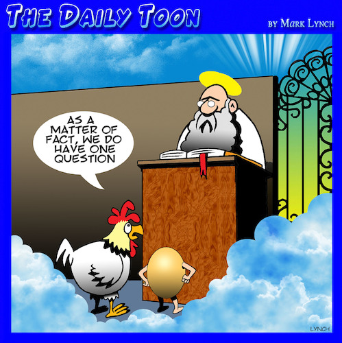 Cartoon: Chicken and egg cartoon (medium) by toons tagged chicken,and,egg,heaven,who,came,first,god,animals,afterlife,chicken,and,egg,heaven,who,came,first,god,animals,afterlife