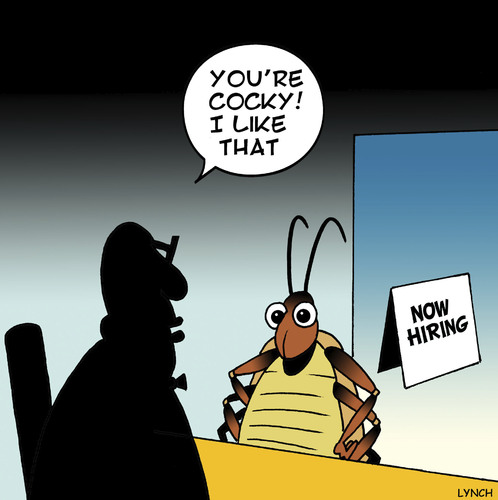 Cartoon: Cocky (medium) by toons tagged cockroach,employment,jobs,insects