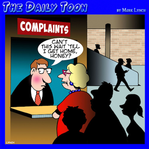 Cartoon: Complaints desk (medium) by toons tagged complaints,complaining,wife,shopping,mall,arguments,dissatisfied,complaints,complaining,wife,shopping,mall,arguments,dissatisfied