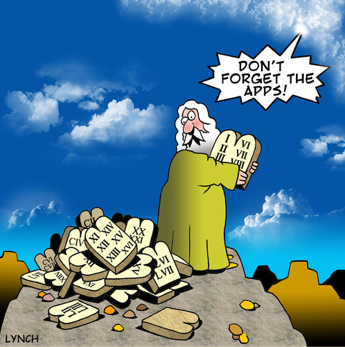 Cartoon: Dont forget the apps (medium) by toons tagged apps,apple,applications,ipad,ten,commandments,moses,god,bible,religion,sin