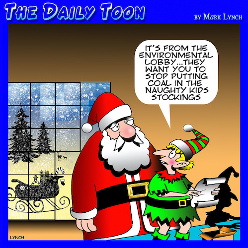 Cartoon: Environmental lobby (medium) by toons tagged santa,coal,christmas,lump,of,in,stocking,naughty,children,santas,elves,santa,coal,christmas,lump,of,in,stocking,naughty,children,santas,elves