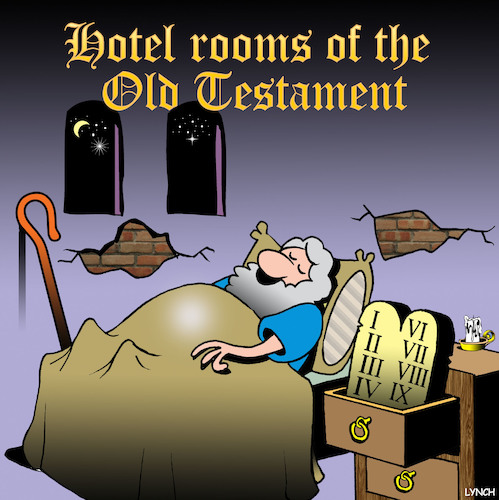 Cartoon: Gideons bible (medium) by toons tagged hotel,room,bible,old,testament,ancient,rooms,ten,commandments,accommodation,hotel,room,bible,old,testament,ancient,rooms,ten,commandments,accommodation