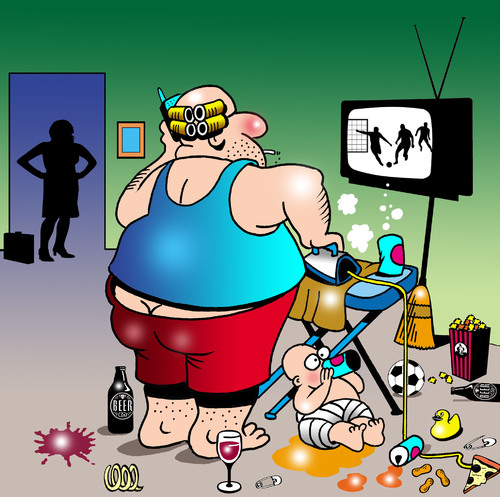 Cartoon: House Hubby (medium) by toons tagged house,husband,ironing,working,mum,beer,football,soccer,tv,sports,baby,housework,curlers,alcohol,stay,at,home,dad,work,from