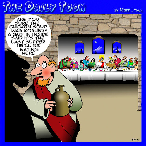 Cartoon: Last supper (medium) by toons tagged last,supper,judas,apostles,easter,kosher