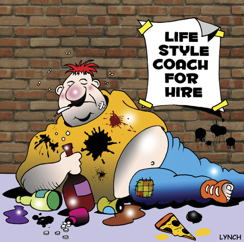 Cartoon: life style coach (medium) by toons tagged life,style,coach,self,help,physical,fitness,exercise,alcoholic,gym,pills,personal,trainer,fat,obesity,overweight