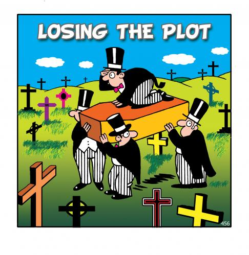Cartoon: lost the lot (medium) by toons tagged death,cemetary,lsost,undertaker