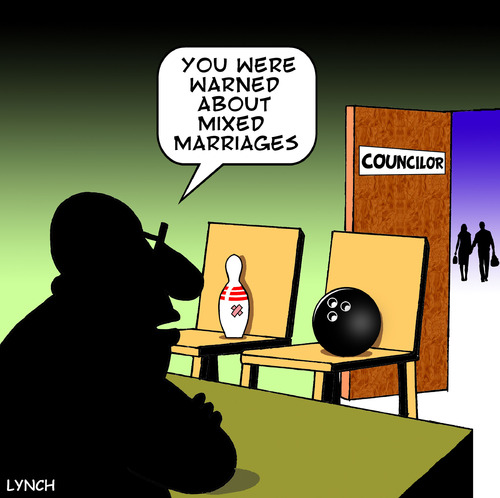 Cartoon: mixed marriage (medium) by toons tagged love,councelling,couples,violence,pin,ten,bowling,heartbreak,mixed,marriage,councilors,relationship,divorce,domestic