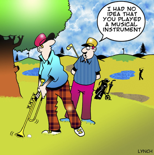 Cartoon: musical (medium) by toons tagged golf,sport,trombone,horn,musical,instrument,golf,trombone,sport,horn,musical,instrument