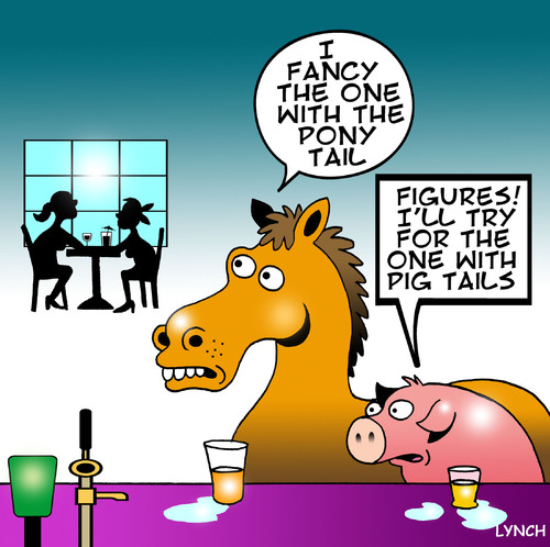 Cartoon: pony tail (medium) by toons tagged pigs,horses,farm,animals,dating,bars,relationships