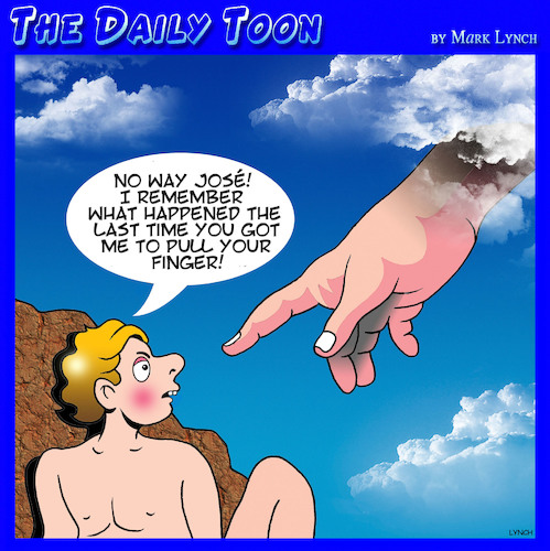 Cartoon: Pull my finger (medium) by toons tagged creation,farts,creating,life,hand,of,god,no,way,jose,creation,farts,creating,life,hand,of,god,no,way,jose