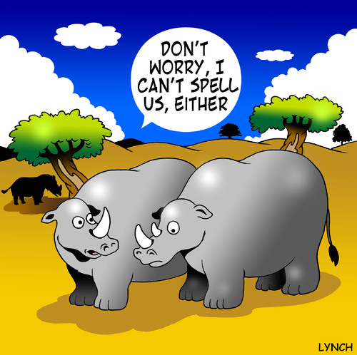 Cartoon: Rhino spell check (medium) by toons tagged rhino,animals,africa,wild,spelling,spell,check,horns