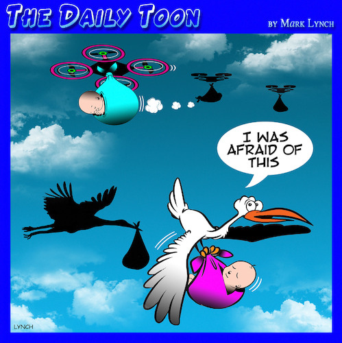 Cartoon: Rise of the Drones (medium) by toons tagged drones,stork,and,babies,childbirth,job,killers,new,technology,delivery,service,drones,stork,and,babies,childbirth,job,killers,new,technology,delivery,service