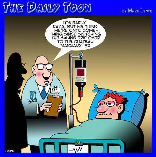Cartoon: Saline drip (medium) by toons tagged wine,doctors,hospitals,medication,medical,science,breakthrough,shiraz,red,french,wine,doctors,hospitals,medication,medical,science,breakthrough,shiraz,red,french