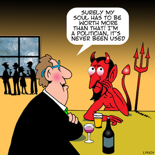 Cartoon: sell your soul to the devil (medium) by toons tagged satan,politicians,sell,your,soul,devil,hell,satan,politicians,sell,your,soul,devil,hell