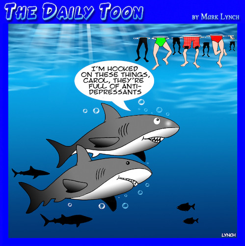 Cartoon: shark attacks (medium) by toons tagged addiction,prescription,drugs,anti,depressants,sharks,pharmacy,addiction,prescription,drugs,anti,depressants,sharks,pharmacy