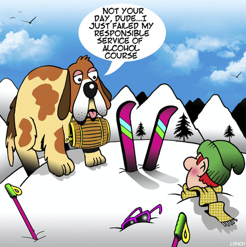 Cartoon: St Bernard (medium) by toons tagged responsible,service,of,alcohol,st,bernard,dogs,cognac,skiing,accident,mountaineering,animals,resue,responsible,service,of,alcohol,st,bernard,dogs,cognac,skiing,accident,mountaineering,animals,resue