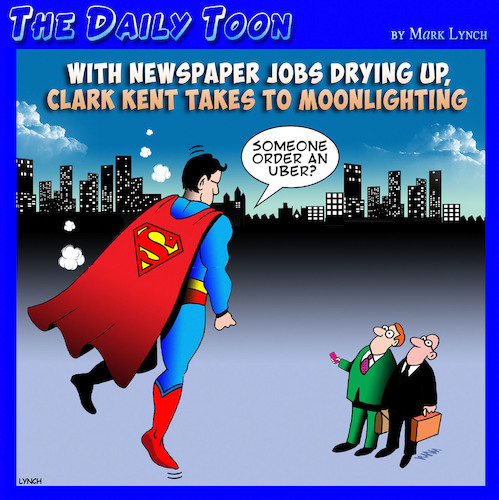 Cartoon: Superman (medium) by toons tagged superman,uber,newspaper,reporters,transport,media,jobs,clark,kent,moonlighting,part,time,job,taxi,cabs,superman,uber,newspaper,reporters,transport,media,jobs,clark,kent,moonlighting,part,time,job,taxi,cabs