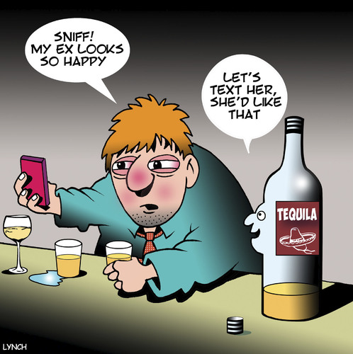 Cartoon: Tequila (medium) by toons tagged tequila,ex,girlfriend,texting,drunk,social,media,tequila,ex,girlfriend,texting,drunk,social,media