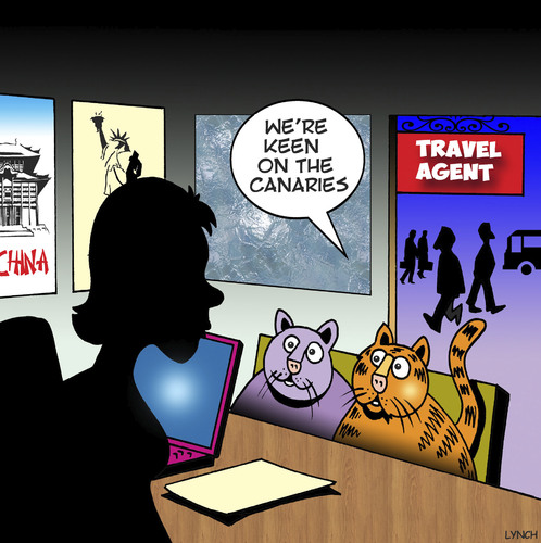 Cartoon: The Canaries (medium) by toons tagged cats,travel,agency,canary,destinations,the,islands,animals,cats,travel,agency,canary,destinations,the,islands,animals