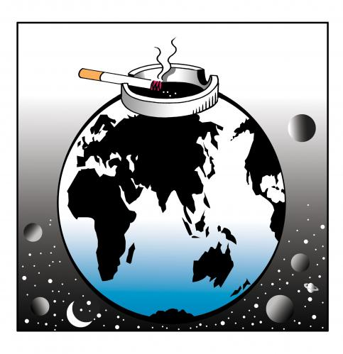 Cartoon: the world is our ash tray (medium) by toons tagged smoking,cigarettes,environment,ecology,greenhouse,gases,pollution,earth,day,