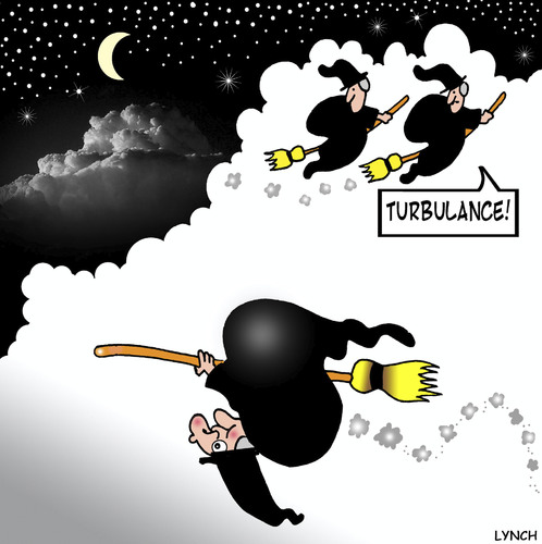 Cartoon: Turbulance (medium) by toons tagged witches,turbulance,flying,magic,air,travel