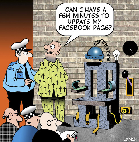 Cartoon: update my Facebook page (medium) by toons tagged update,chair,electric,facebook,punishment,capital,profile,my