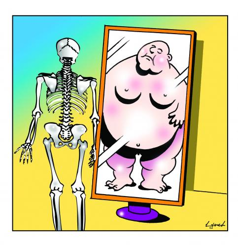 Cartoon: what disorder (medium) by toons tagged obesity,eating,disorders,anorexia,skeletons,fat,people,overweight