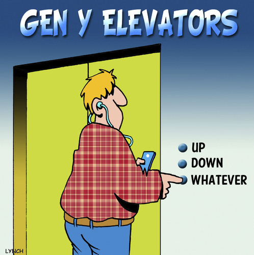 Cartoon: Whatever (medium) by toons tagged gen,elevators,ipod