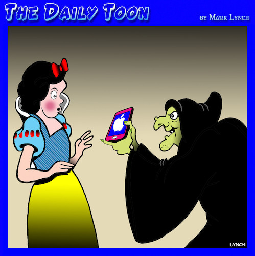 Cartoon: Wicked witch (medium) by toons tagged iphone,poison,apple,snow,white,smartphones,wicked,witch,nursery,rhymes,iphone,poison,apple,snow,white,smartphones,wicked,witch,nursery,rhymes