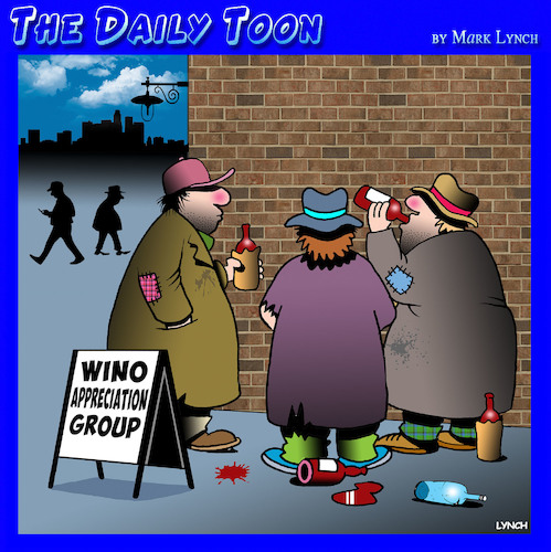 Cartoon: Wine appreciation (medium) by toons tagged wino,wine,tasting,appreciation,tramps,homeless,groups,wino,wine,tasting,appreciation,tramps,homeless,groups